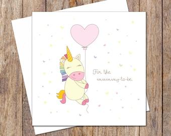 Baby Shower Cards. Newborn Baby Card. New Parents Card. Baby Girl Card. Baby Shower Card Girl. Pastel Unicorn Baby Card. Mummy-to-be Card.