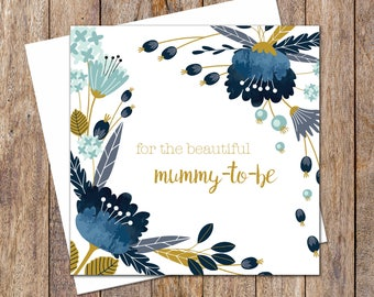Blue Floral Baby Shower Card. Neutral Baby Shower Card. Baby Shower Cards. Mummy-to-be Cards. Baby Shower Gift. Baby Shower Card. New Baby