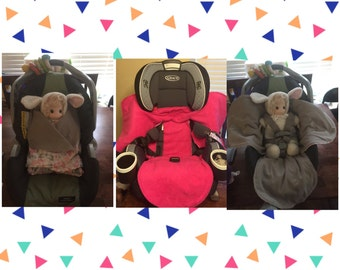 Car Seat Blanket Baby Stroller Swaddle Fleece And Cotton Hand Made