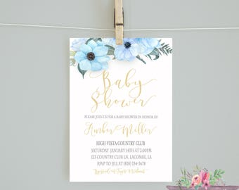 Baby shower invitation/It's a Boy Baby Shower Invitation / Blue Flower Invitation/ Blue flower/ Baby Shower Invitaion