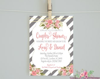 Floral Couples Shower/Gray Coral Flowers/ Striped Couples Shower