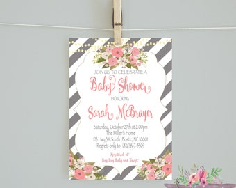 Floral Baby Shower/Gray Coral Flowers/ Striped Baby Shower