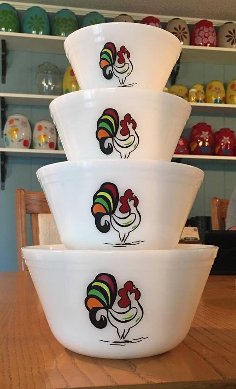 Dishes NOT included DECALS ONLY Bartlett Collins Rooster Decals