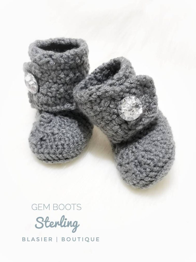 e75b03f955f42 Crochet Gem Baby Booties-Baby Girl Clothes - Christmas baby - Christmas -  Newborn Girl Coming Home Outfit - Baby Girl Shoes - uggs - bling