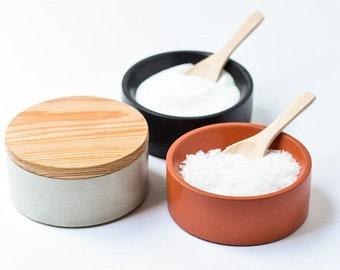 Salt Cellar with Lid and Spoon - Concrete Salt Bowl - Pinch Pot - Sugar Bow - Kitchen Gift - Minimalist -Pinch Bowl - Salt and Pepper Cellar
