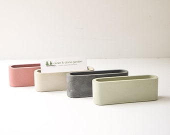 Desk card holder etsy concrete business card holder modern desk accessories business card display desk organizer office organizer colourmoves