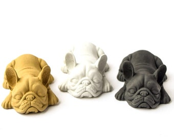 Concrete French Bulldog - Frenchie - Dog - Cement - Paperweight - Gifts - Desk Office Decor - Dog Statue - Home Decor - Small Bulldog
