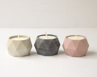 Concrete Geometric Tea Light Holder (Set of 2) - Wedding Favor - Shower Favor - Concrete Vessel - Air Plant Holder - Candle Holder