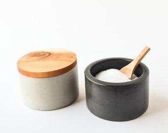 Salt Cellar with Wood Lid - Concrete Salt Bowl - Salt Pinch - Salt Pig - Sugar Bowl - Modern Bowl - Salt Box - Kitchen Gift - Cement Bowl