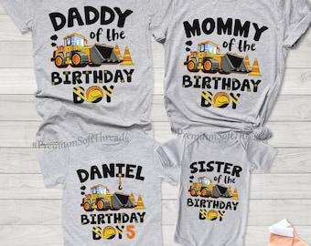 Family Construction Birthday Shirt, Construction Birthday Shirt, Personalized Construction Shirt, Birthday Boy Shirt, Yellow Truck Boy Shirt