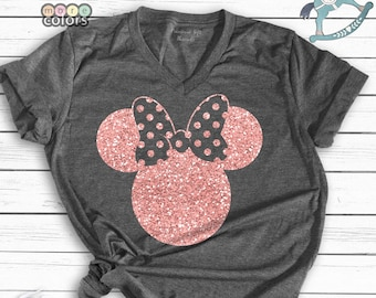 6d7421644f6f3 Disney Shirts, Disney Ear Shirt, Glitter Rose Gold Minnie Shirt, Women's  Unisex Disney T-Shirt