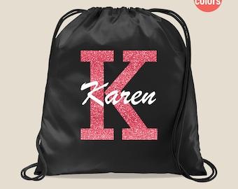 Personalized Drawstring Bag, Custom Monogram Drawstring Bag, Custom Team Bag, Custom Drawstring Bag, Custom Drawstring Backpack
