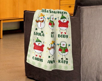 Custom Nana's Little Snowmen Blanket, Grandma's Little Snowman Blanket, Cute Christmas Blanket, Personalized Nana Blanket, Xmas Holiday Gift