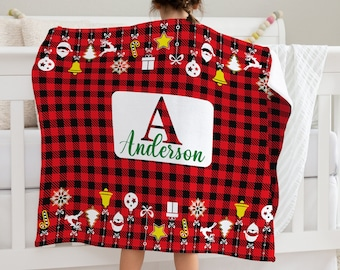 Buffalo Plaid Blanket, Personalized Xmas Mink Blanket, Christmas Throw Blanket, Winter Throw Blanket, Holiday Throw Blanket