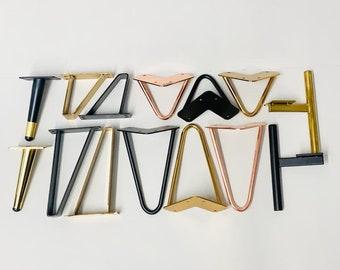 Set of four modern metal furniture legs, cabinet legs, furniture feet