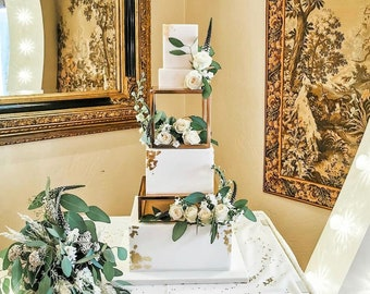 SET - Metallic Square and Rectangle Cake separator - Metallic cake stand, cake spacers