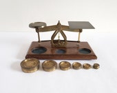 Antique Working Brass Scale, Vintage English Balance Scale with 6 Original Weights, Postal, Gold, Pharmacy Scale, Collectible Decor Piece