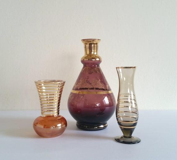Vintage Colored Glass Vase Set 3 Mid Century Glass Bud Vases Etsy