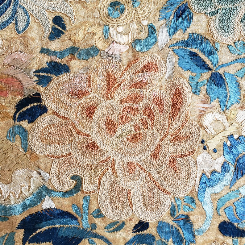 Vintage East Asian Textile Antique Chinese Embroidery Panel Forbidden Stitch Floral of Peonies and Bats