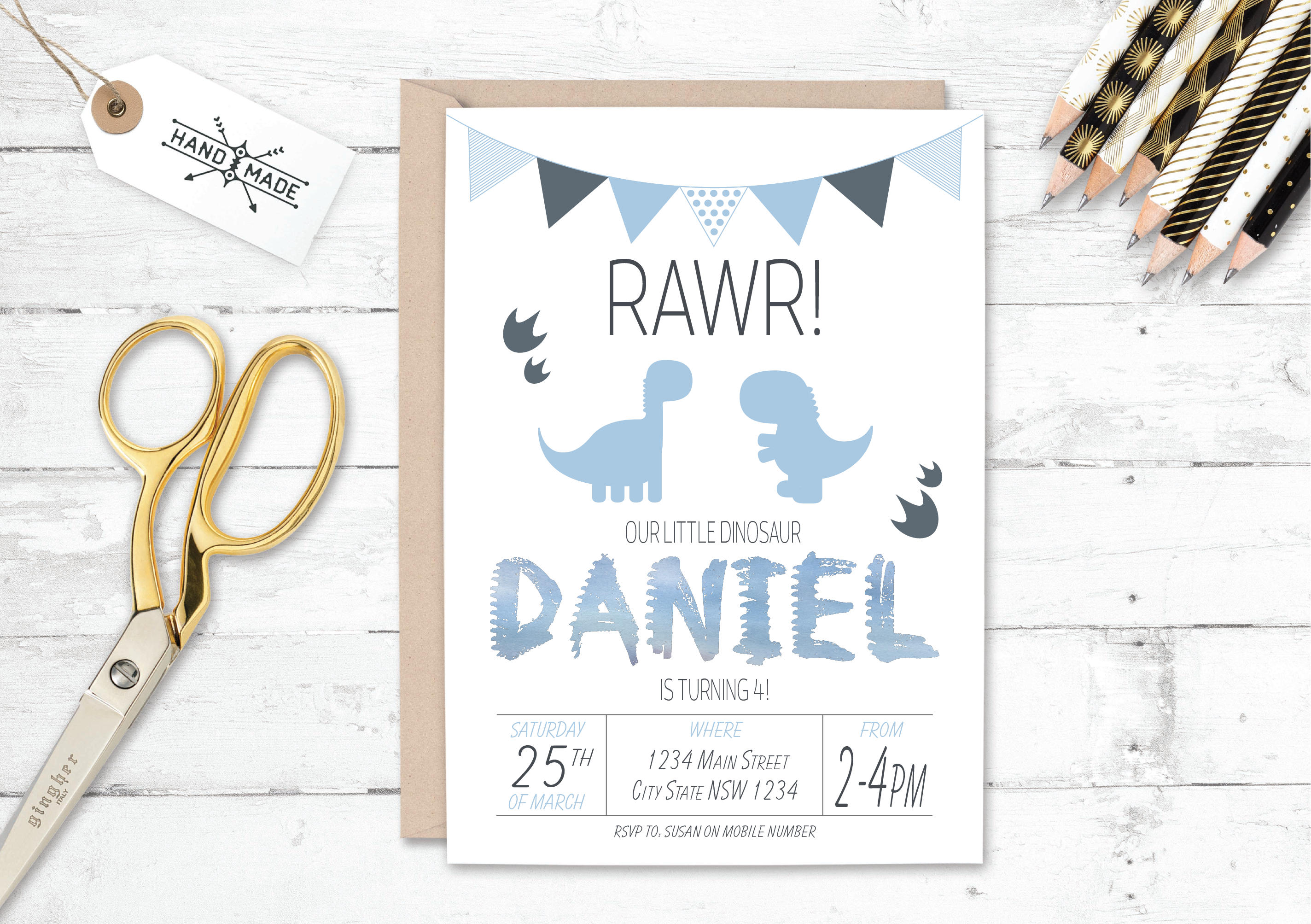 Dinosaur Birthday Invitation Dinosaur Invitation Dinosaur | Etsy