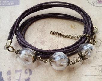 Bracelet with 3 dandelions glass balls