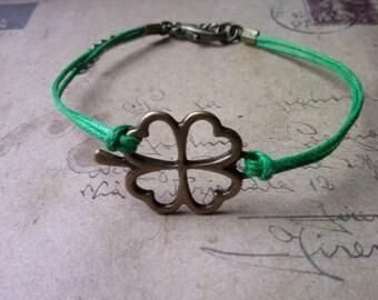 Four-leaf clover bracelet-Grün-