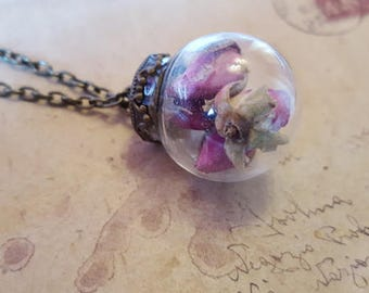 Glass ball chain with real roses ~ bronze ~.
