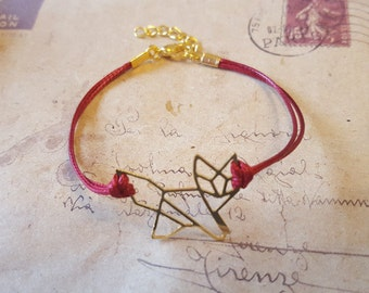 Origami Fox - bracelet-goldfarben with red band