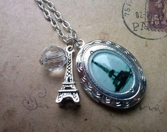 Locket necklace ~ Eiffel Tower ~ ~ silver ~