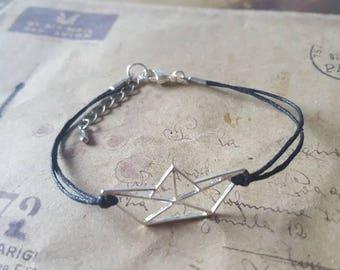 Origami boat - bracelet-black-
