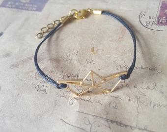 Origami boat - bracelet-goldfarben-