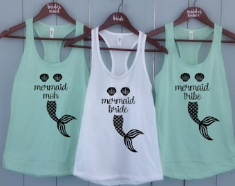 c059536af Mermaid Bride Tribe Stagette party shirts, Bride Squad Shirt, Bridal Party  Shirts, Wedding Shirt, Bridesmaid Gift, Bridesmaids Tank Top