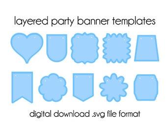 Shield Banners Bunting Svg Shield Svg Banner Shapes Svg Shield Etsy