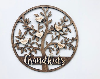 Grandkids Christmas Birthday Mother's Day Gift Family Tree Sign Custom Hanging Grandparent Personalized Grandma Nana Mom Gift Idea