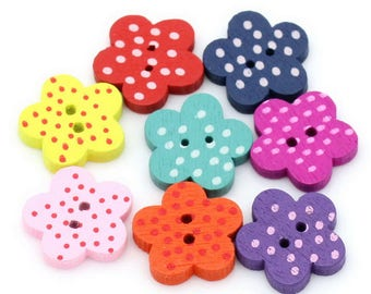 20 x Spotty Flower shaped wooden buttons,Mixed Colours, Crafts/Cards/Sewing