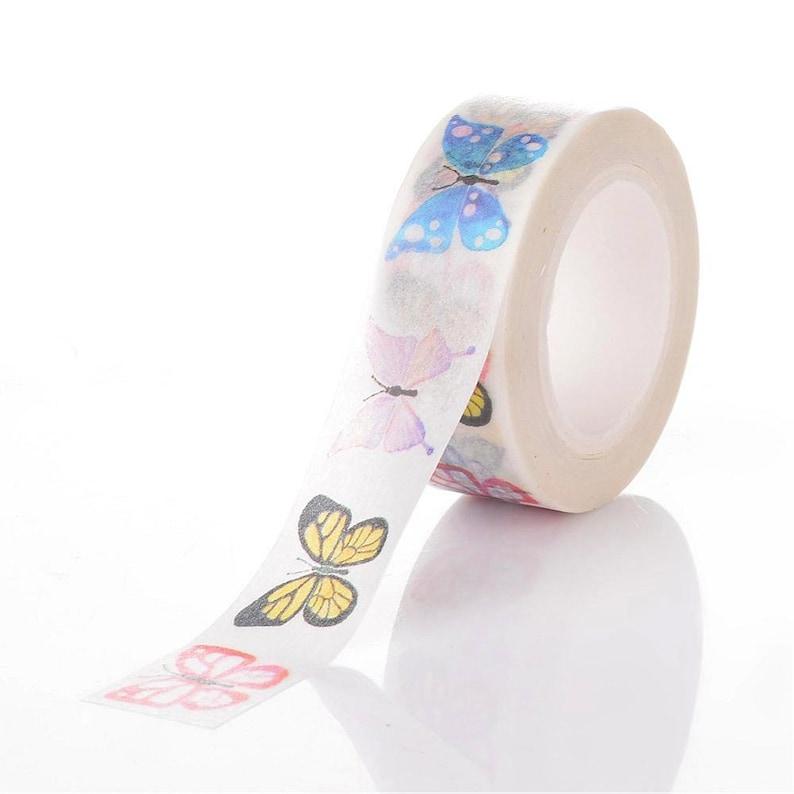 sticky Washi tape Red Butterfly on white background pattern. Decorative