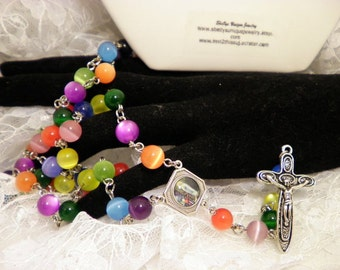 Colorful Cats Eye Rosary Beads
