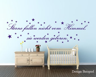 Wandtattoo Spruch Sterne Fallen Nicht Vom Himmel Geboren WallArt Zitat  Babyzimmer Kinderzimmer Deko Inklusive Versand In Deutschland WA 108