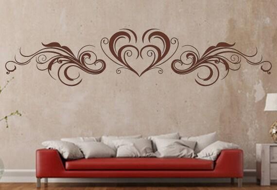 Wandtattoo Floral Herz Ornament WallArt Schlafzimmer Liebe | Etsy