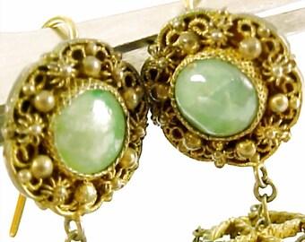 Antique Chinese Jadeite Jade Tourmaline Gilt Lantern Earrings