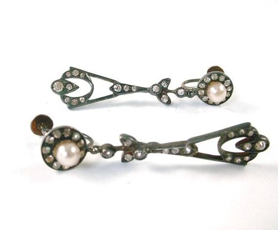 CLEARANCE—Art Deco Paste Silver Drop Earrings
