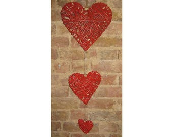 Red Hearts hanging decor