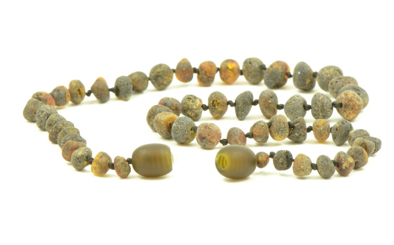 Hand-Made from Unpolished Baltic Amber  Beads length Amber Teething Necklace 11-14in Knotted for Safety, Dark Green color 28-36cm