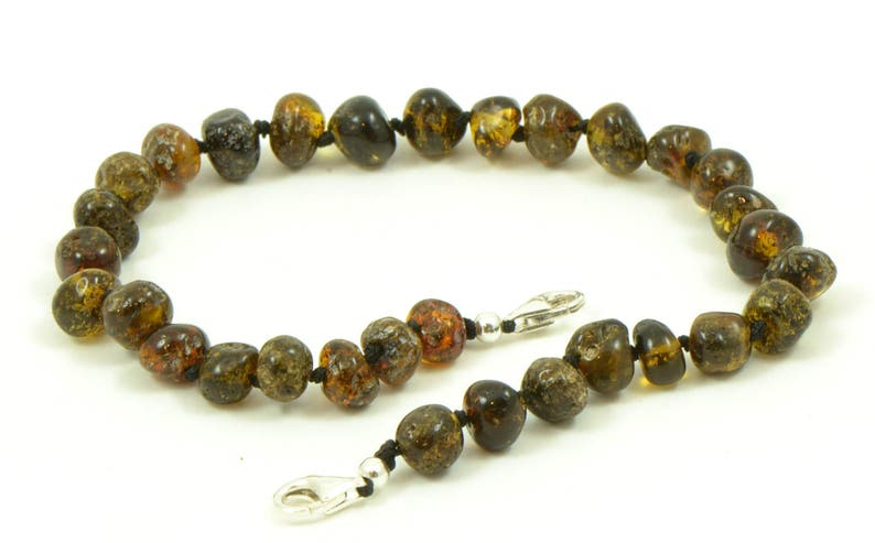 adjustable 6.7 to 9.5 inches Dark Green  Amber Hand Made From Genuine Baltic Amber Beads K01019 Amber Adult Anklet With Silver Clasp