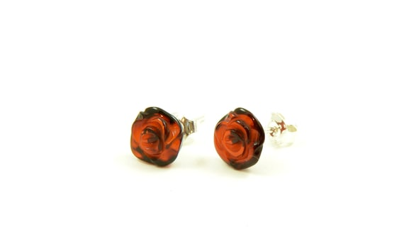 Amber and Silver 925 Earrings Womens Amber Earrings Rose Amber Earrings Amber Earrings