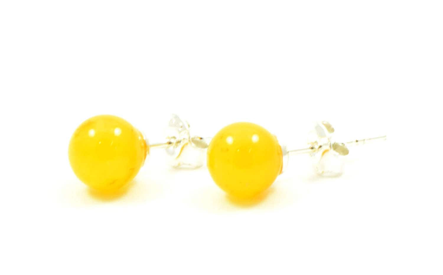"""Natural Baltic amber earrings /""""Milky Roses/"""" with sterling silver 925 stud"""