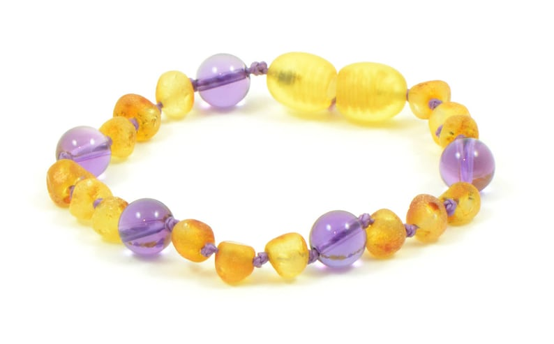 S00124A Knotted Genuine Baltic Amber Teething Bracelet for Baby  Children  14cm 5.5 inches Hand-Made Raw Lemon and Amethyst Beads