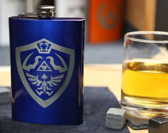 Link's Shield - Blue Stainless Steel Hip Flask