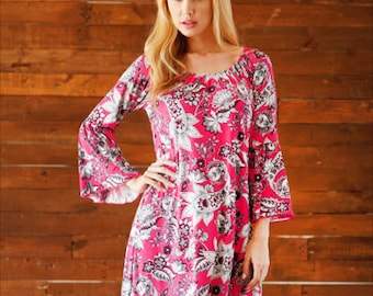 Style By Chris Ohio Multi Colored Print Tunic Dress with Bell Sleeves