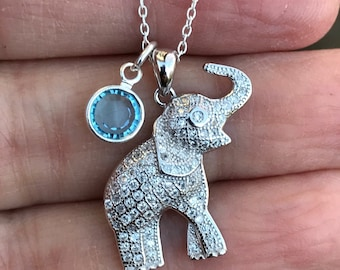 f0be544b5b7 925 Sterling Silver Elephant Pendant Necklace with Swarovski Crystal  Birthstone Personalized charm Elephant Jewelry Gift for Her
